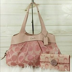Coach Lexi, pastel pink with matching wallet